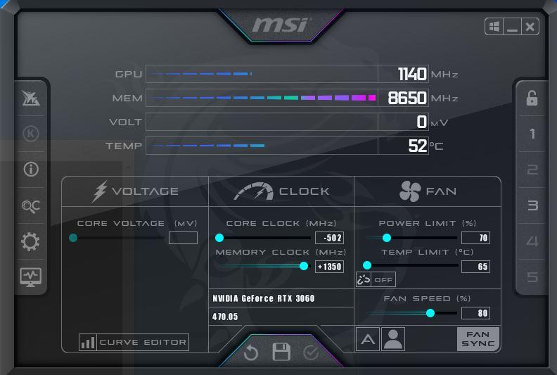 MSI Afterburner Overclock Settings for mining